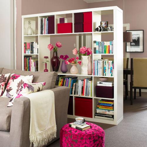 White Bookshelf Apartment Room Divider Design Ideas