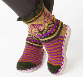 Free Knitting Patterns For Slippers And Socks : Miss Julias Patterns: Free Patterns - 50 Slippers & Socks to Knit &a...