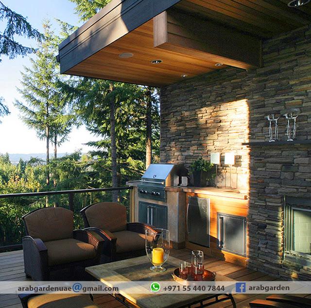 Wooden pergola contractor for Barbecue area design ideas