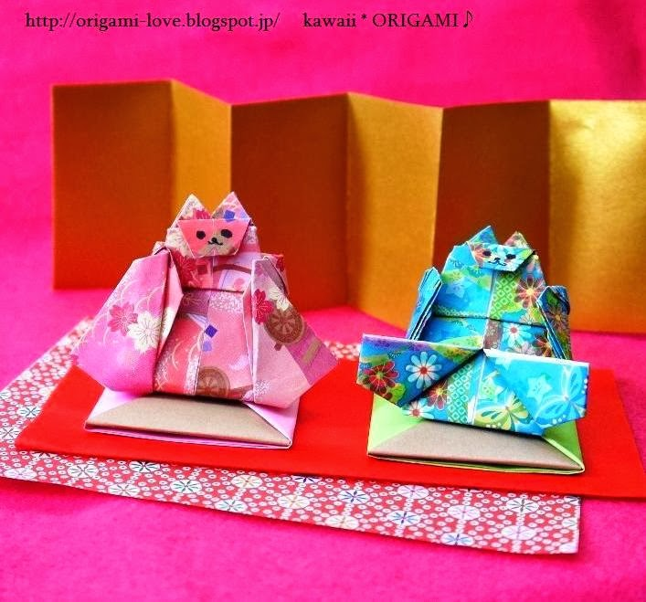 すべての折り紙 折り紙 ひな人形 折り方 : 可愛い猫雛[折り紙]折り方 ...