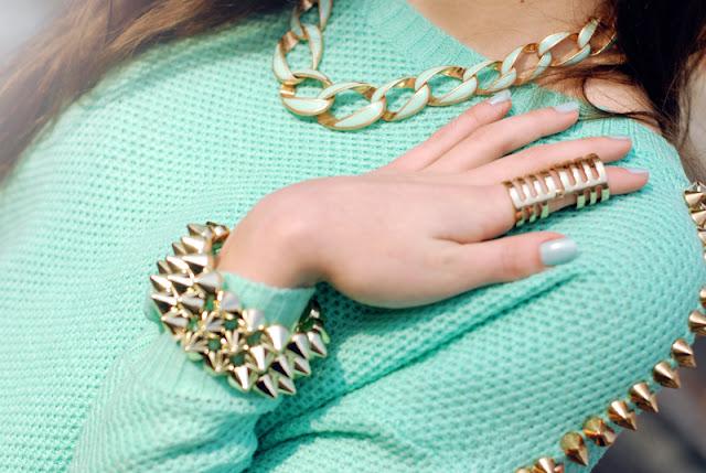 gold, mint, necklace, zara, miętowy, łańcuch, ćwieki,mięta, złoto, biżuteria