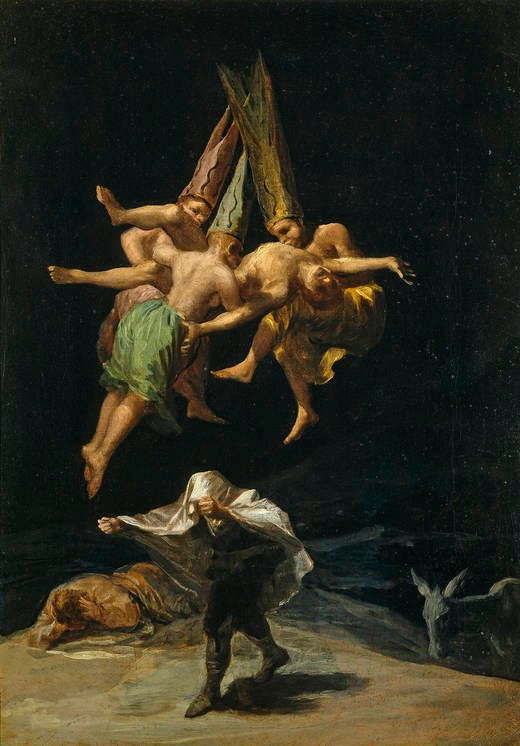 """Witches' Flight"" Francisco Goya (1798), oil painting, witches tormenting man, witches' hallucinations, witches' sabbat, sorcery, flying in robes"