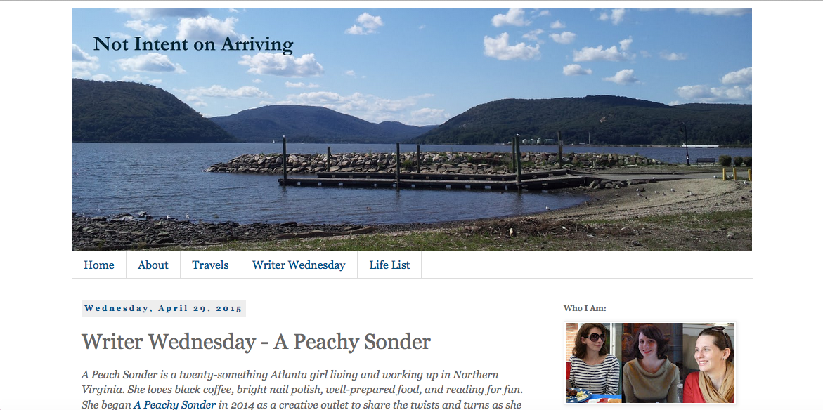 http://www.notintentonarriving.com/2015/04/writer-wednesday-peachy-sonder.html