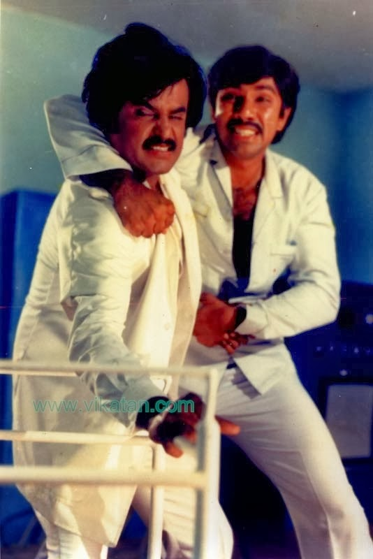 Rajinikanth & Sathyaraj in 'Naan Sigappu Manithan' (1985) Tamil Movie