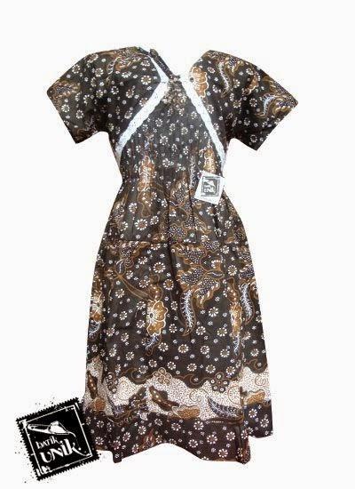 foto model baju batik dress panjang pendek modren kombinasi