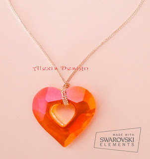 Colier Swarovski Orange Heart