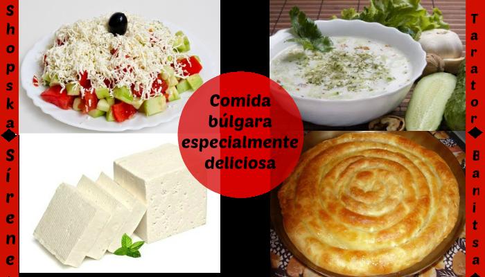 Comida búlgara deliciosa: sírene, banitsa, yogur búlgaro, ensalada shopska