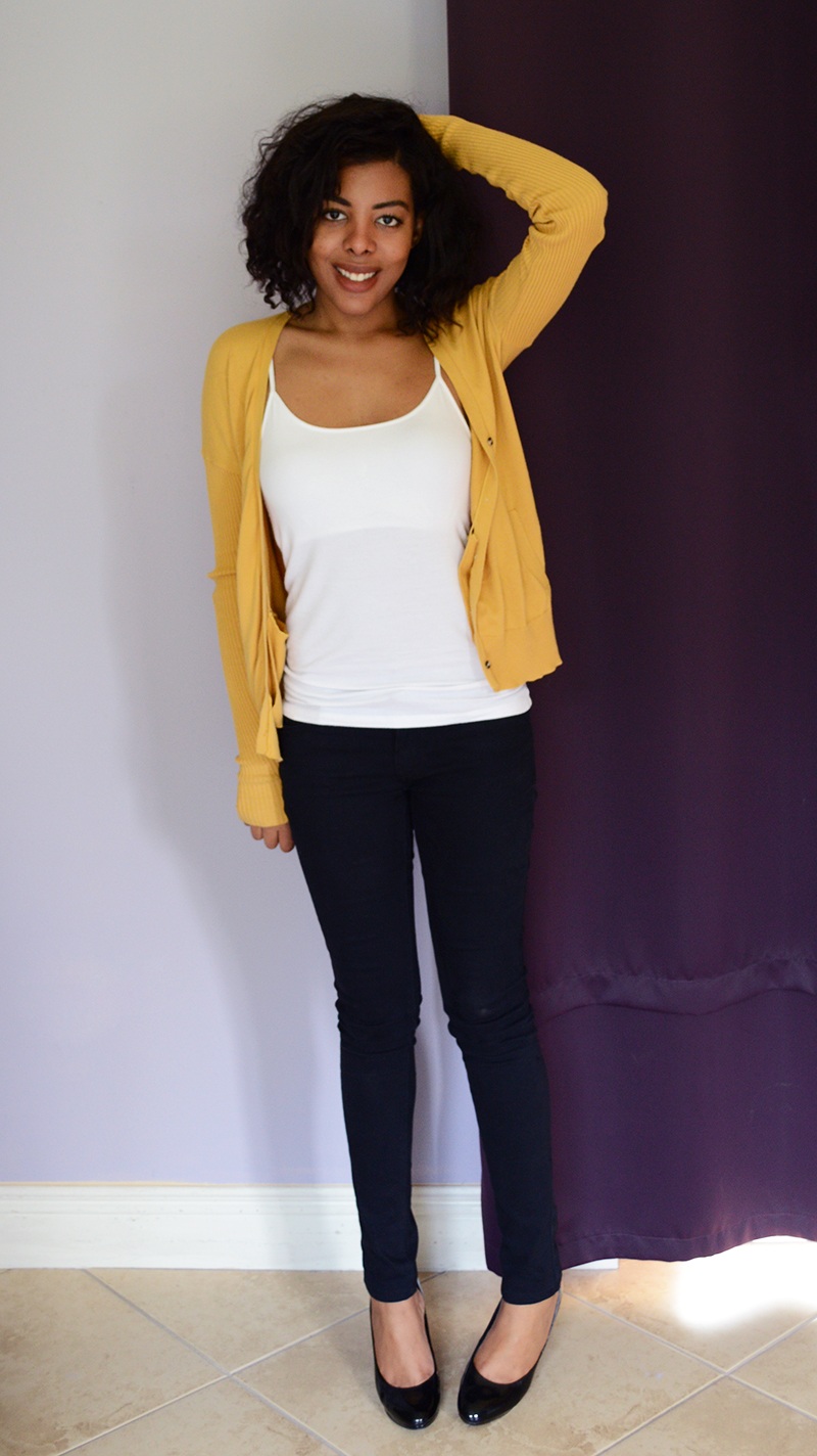 Fashion Blogger Anais Alexandre of Down to Stars in a yellow BDG cardigan, white American Apparel tank, 1st kiss pants and mossimo pumps