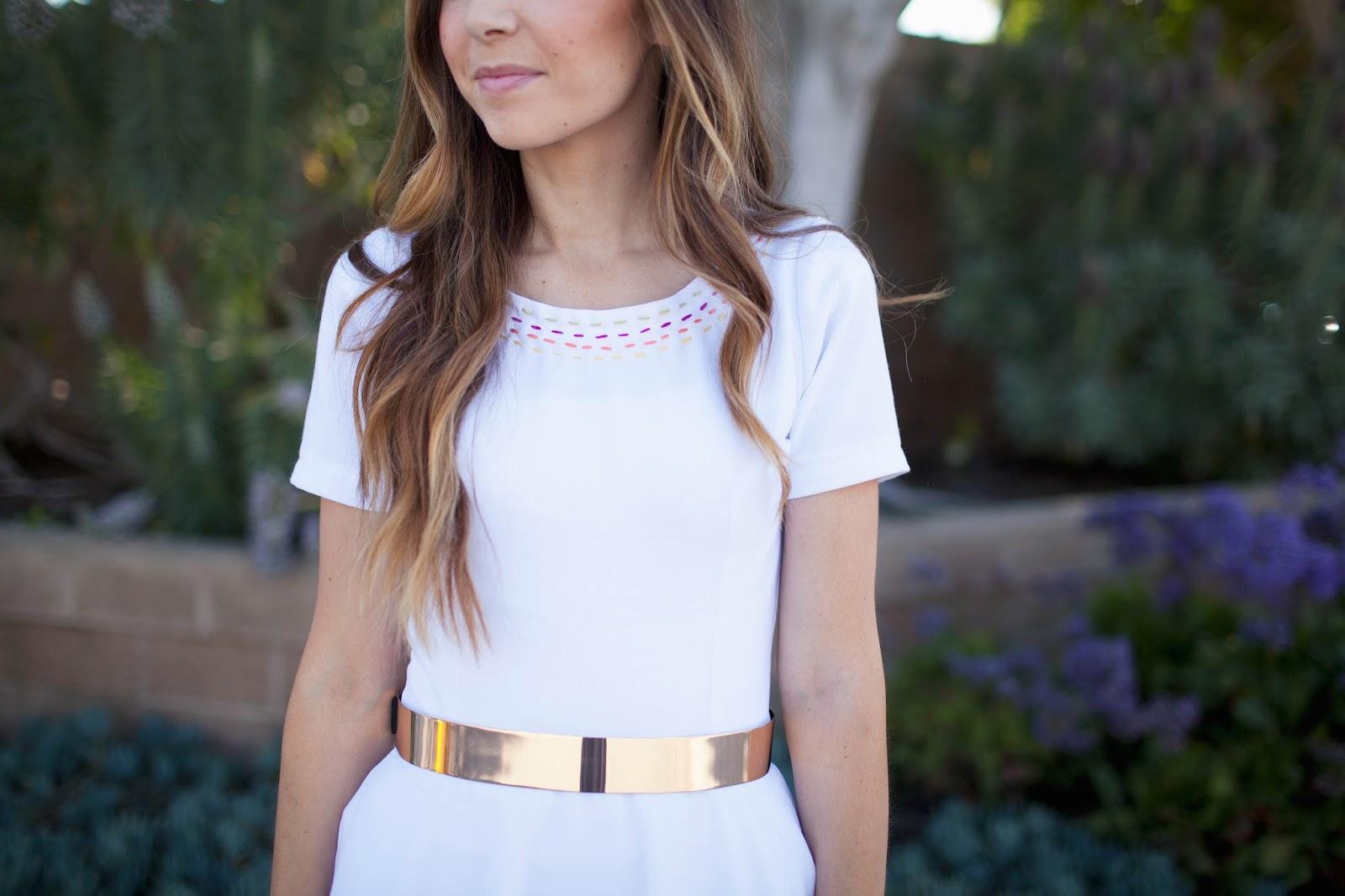 Merrick S Art Gold Belt White Dress