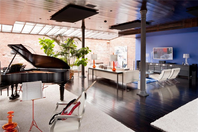 Photo of small living room and the piano in the Tribeca triplex