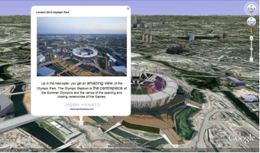 The olympic park in london england when viewing the kml in google
