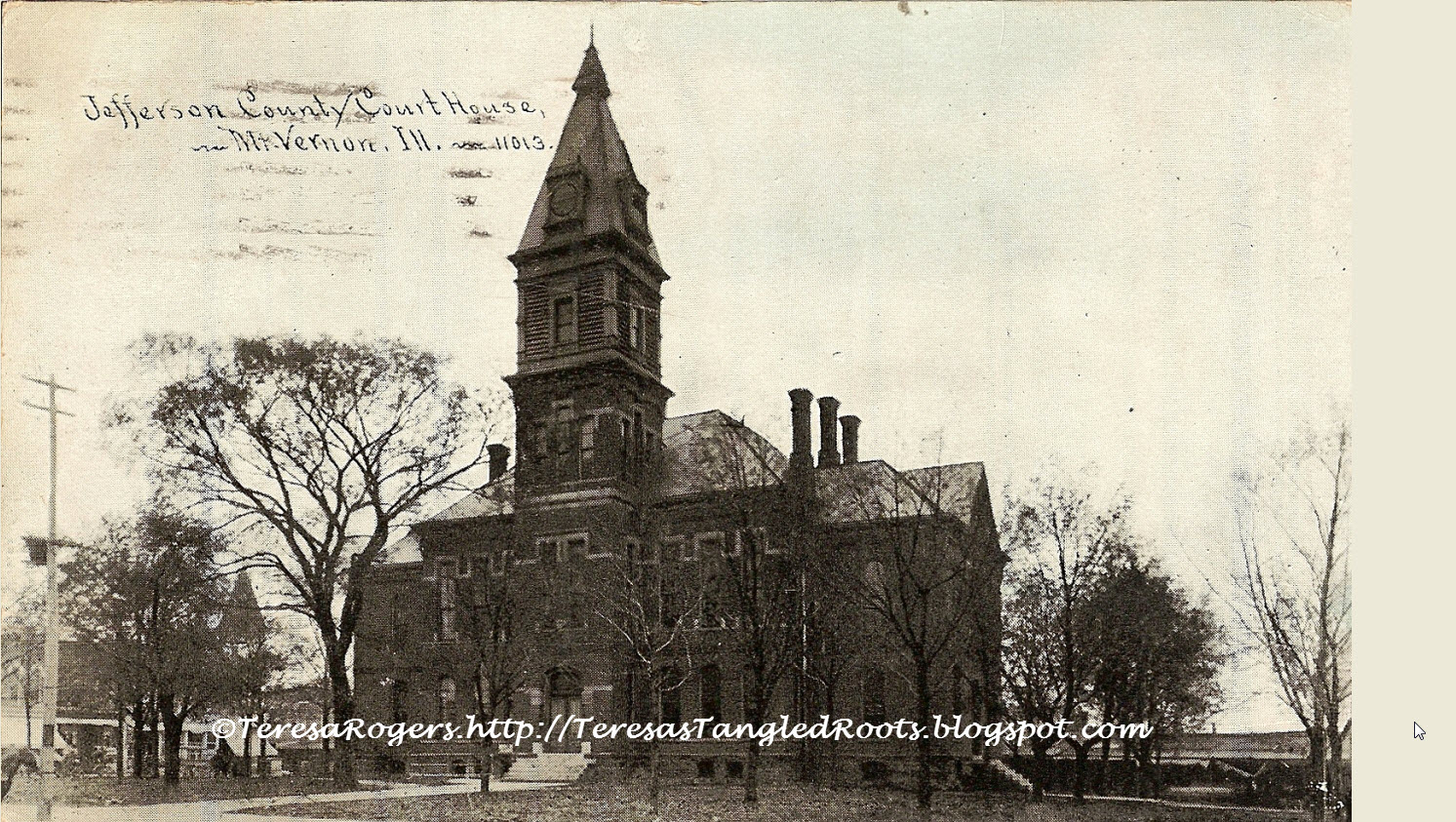 Illinois jefferson county ina - Jefferson Co Courthouse Postcard Postmarked Sep 1913