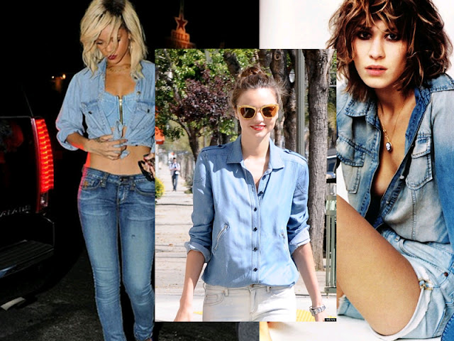 rihanna, miranda kerr, alexa chung, double denim, celebrities in double denim, celebrities, lesimplyclassy, photoshoot, photoshop, pull off double denim, different shades of denim, lesimplyclassy, samira hoque stylist, samira hoque styling, samira hoque blog,