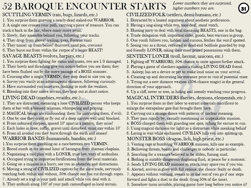 52 Baroque Encounter Starts
