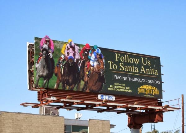 Follow Us Santa Anita Park horse racing billboard