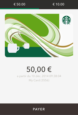 Paiement mobile avec l'application Starbucks