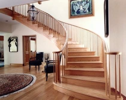 curved stairs and railings
