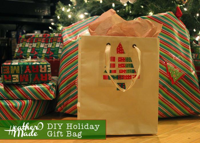 DIY holiday gift bag. repurpose an anthropologie shopping bag. heatheromade.