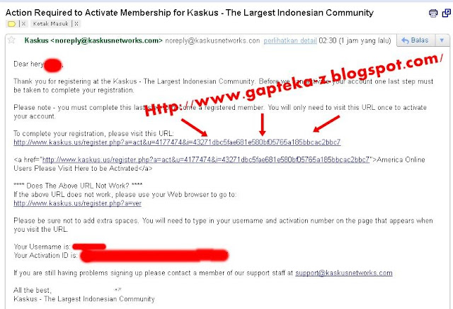 Email notifikasi dari Tim Kaskus