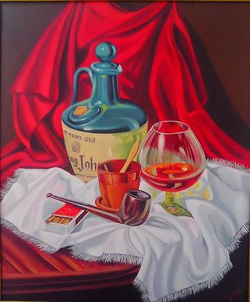 Bodegón de Whisky y pipa