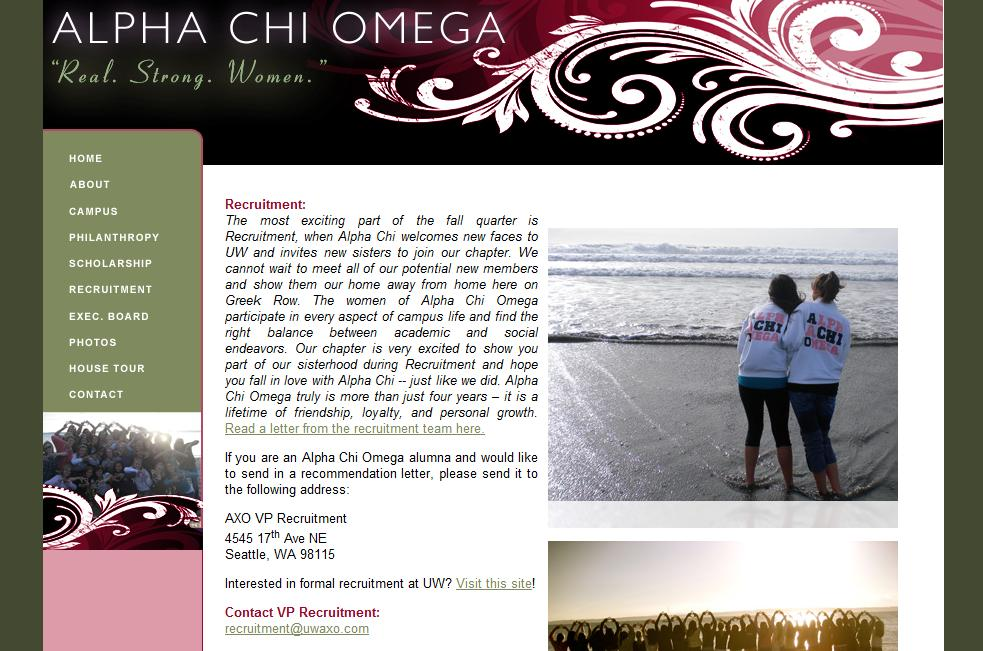 University Of Washington Sorority Recruitment 2012: Letters Of