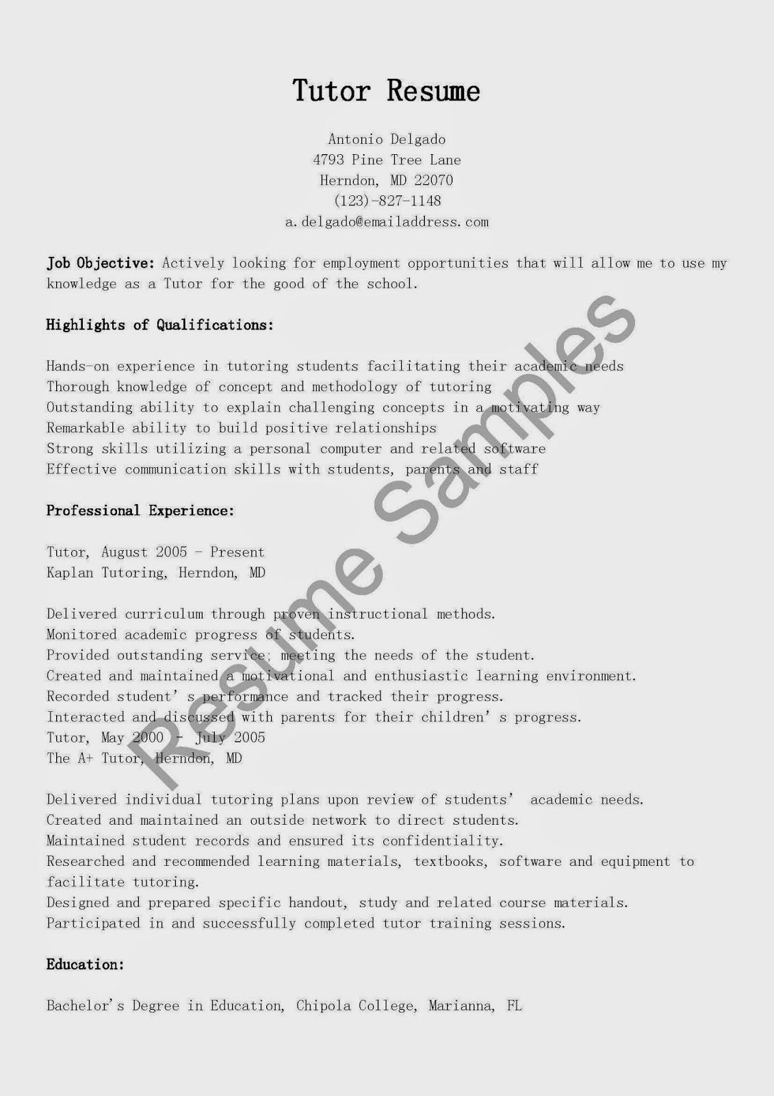 Sample Tutor Resume Tutor Resume Sample College Math Teacher Sle – Math Tutor Resume