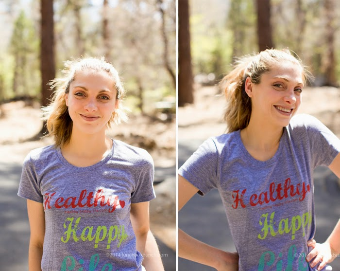 Kathy at camp wearing HHL tee