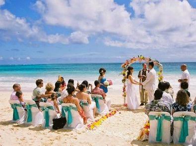 Boda en playa con invitados