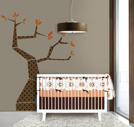 de bebé en naranja y marrón  Dormitorios colores y estilos