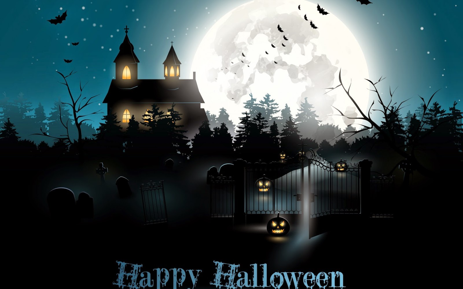 Halloween Haunted House Full White Moon Black Theme