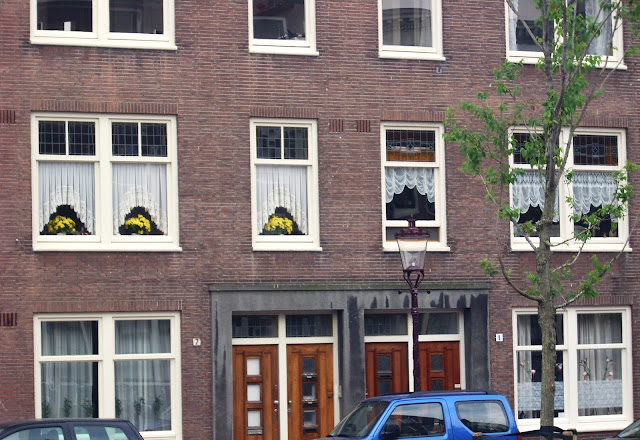 Lovely yellow flowers and curtains in a window in Amsterdam