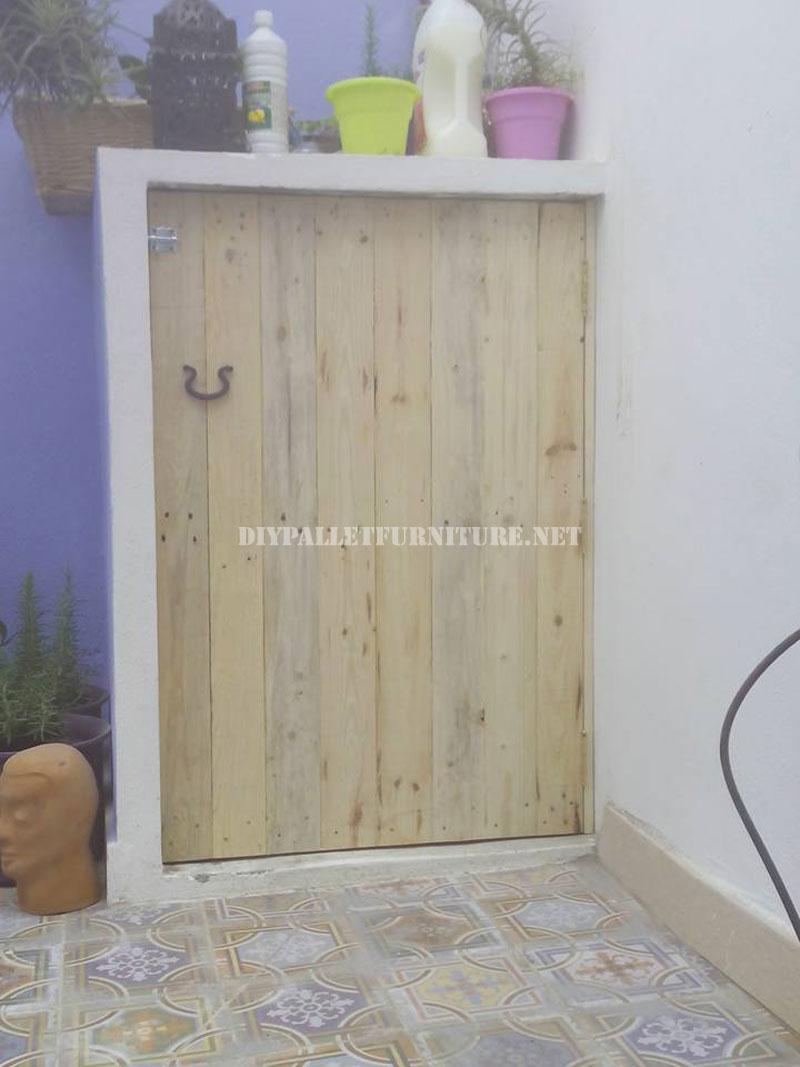 Mueblesdepaletsnet Puerta para lavadora hecha con tablas de palets