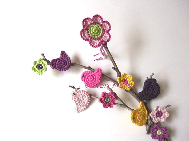 Crochet Ornament flowers and birds