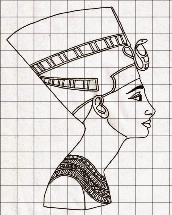 Popolare due ore di arte: fatti da voi: ritratto di Nefertiti con griglia  QT86
