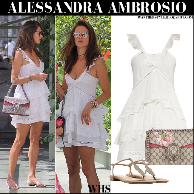 Alessandra Ambrosio in white ruffled isabel marant casey dress with canvas shoulder gucci dionysus bag streetstyle