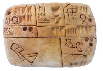 Tablilla protocuneiforme donde se muestra, abajo, a la izquierda, el signo ninda asociado a sag