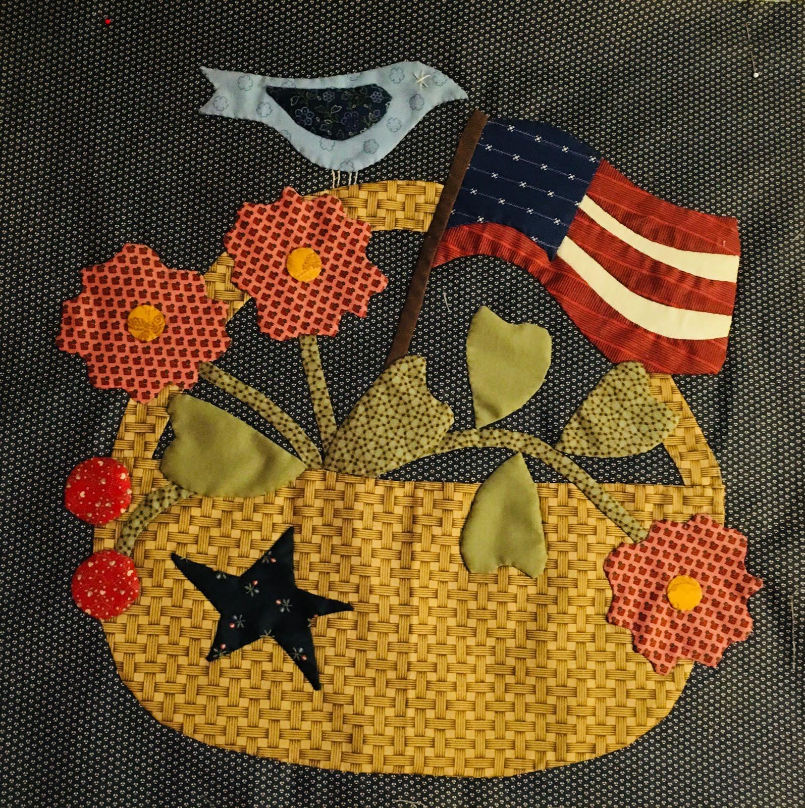 Block #5-June -Basket, Bird & Flag