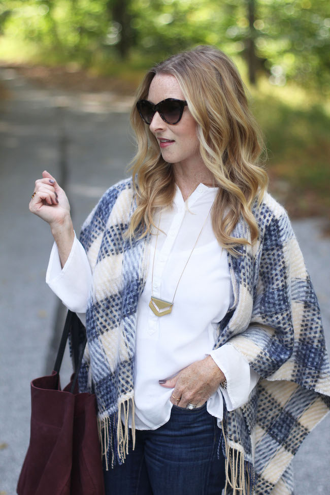 saint laurent sunnies, anthro cape, madewell necklace