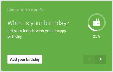 birhtday date on Google+ Profile