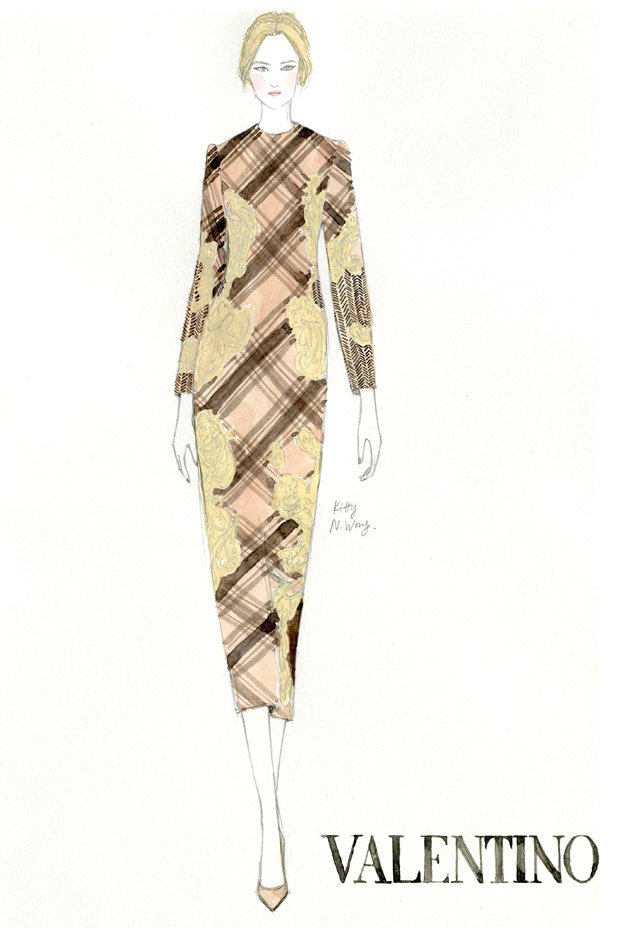 Kitty N. Wong/ fashion illustration of Valentino Plaid Dress Haute Couture Fall 2013