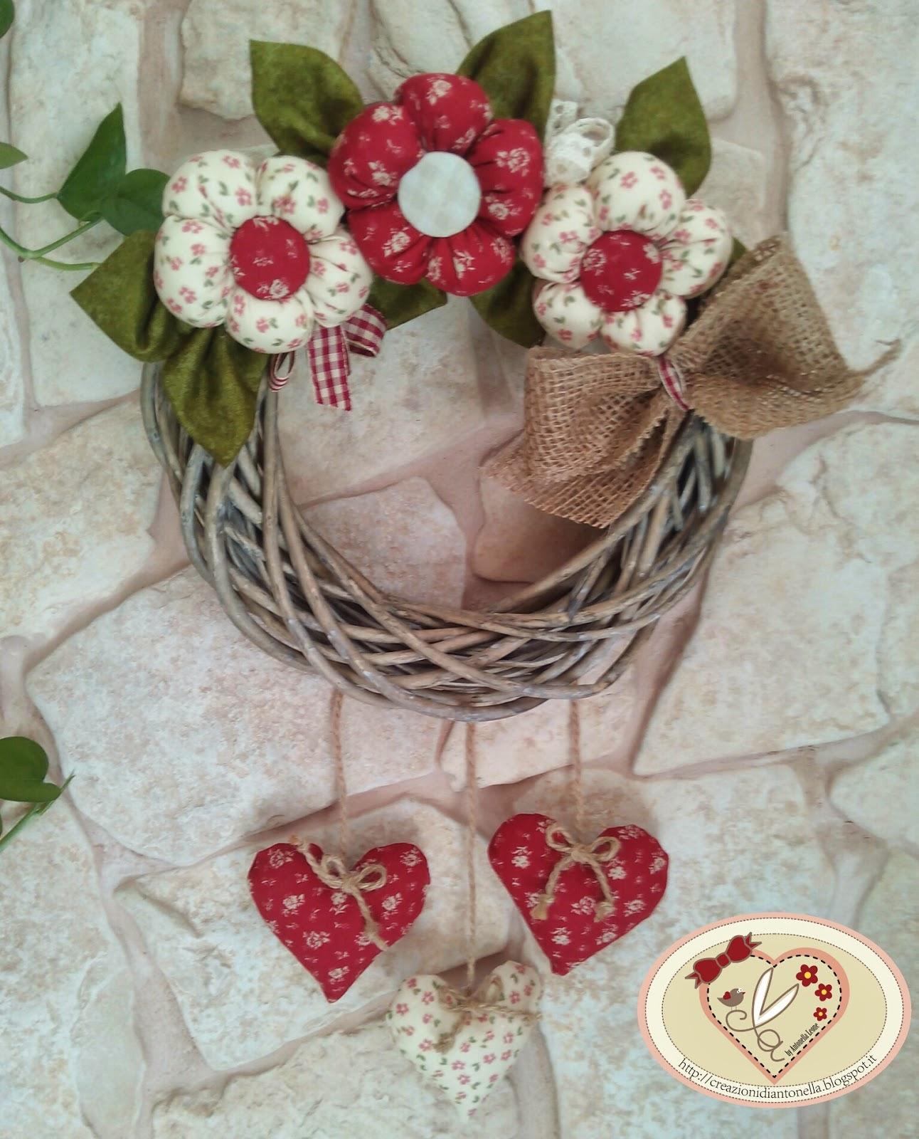 Le creazioni di antonella ghirlanda con cuori e fiori - Decorazioni natalizie country fai da te ...