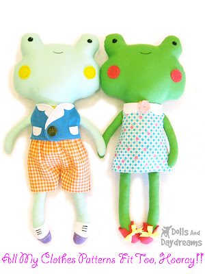 CLANCY & CLARABEL FROG SOFT TOY PATTERN SEWING CRAFT - $17.50