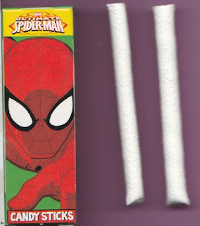 Sample Ultimate Spider-Man Villains Candy Sticks box with two candy sticks