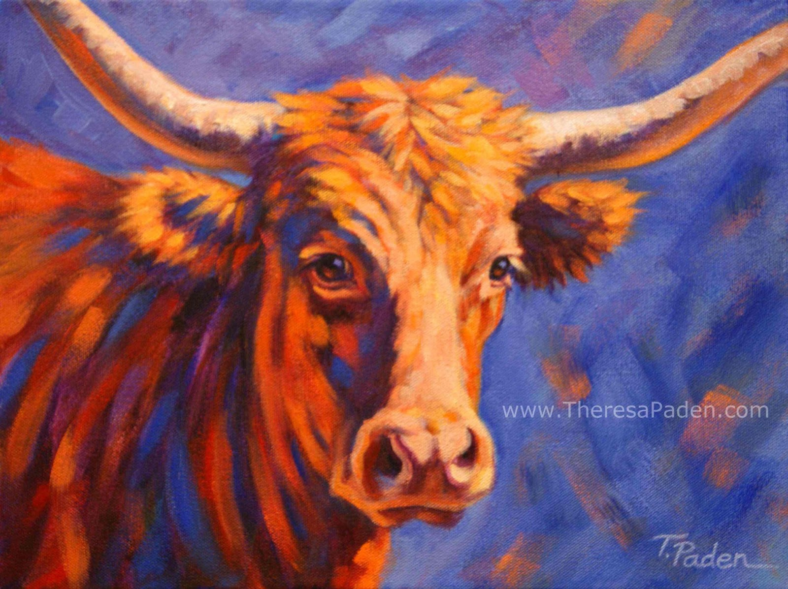 Wildlife Art of the West: Colorful Longhorn Cow Painting, Red, White ...
