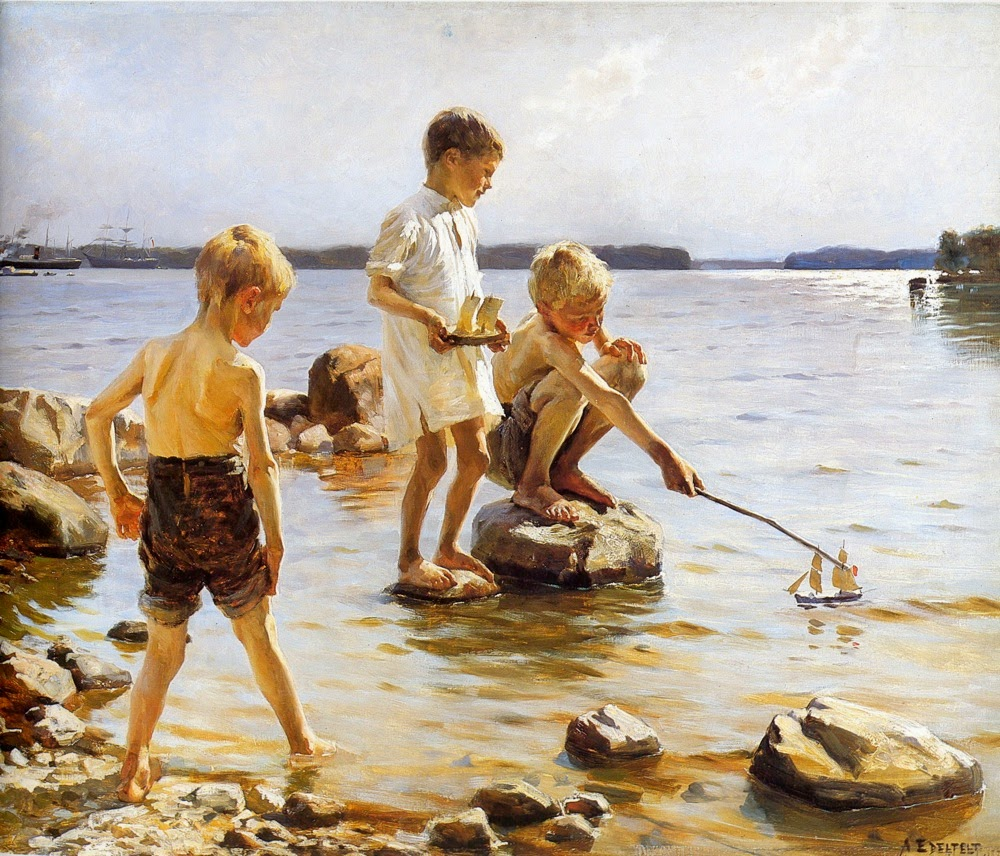 Boys Playing on the Shore, Albert Edelfelt