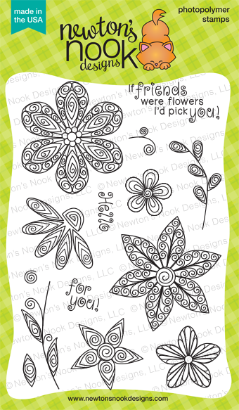 Beautiful Blossoms 4x6 Quilled flower stamp set | Newton's Nook Designs