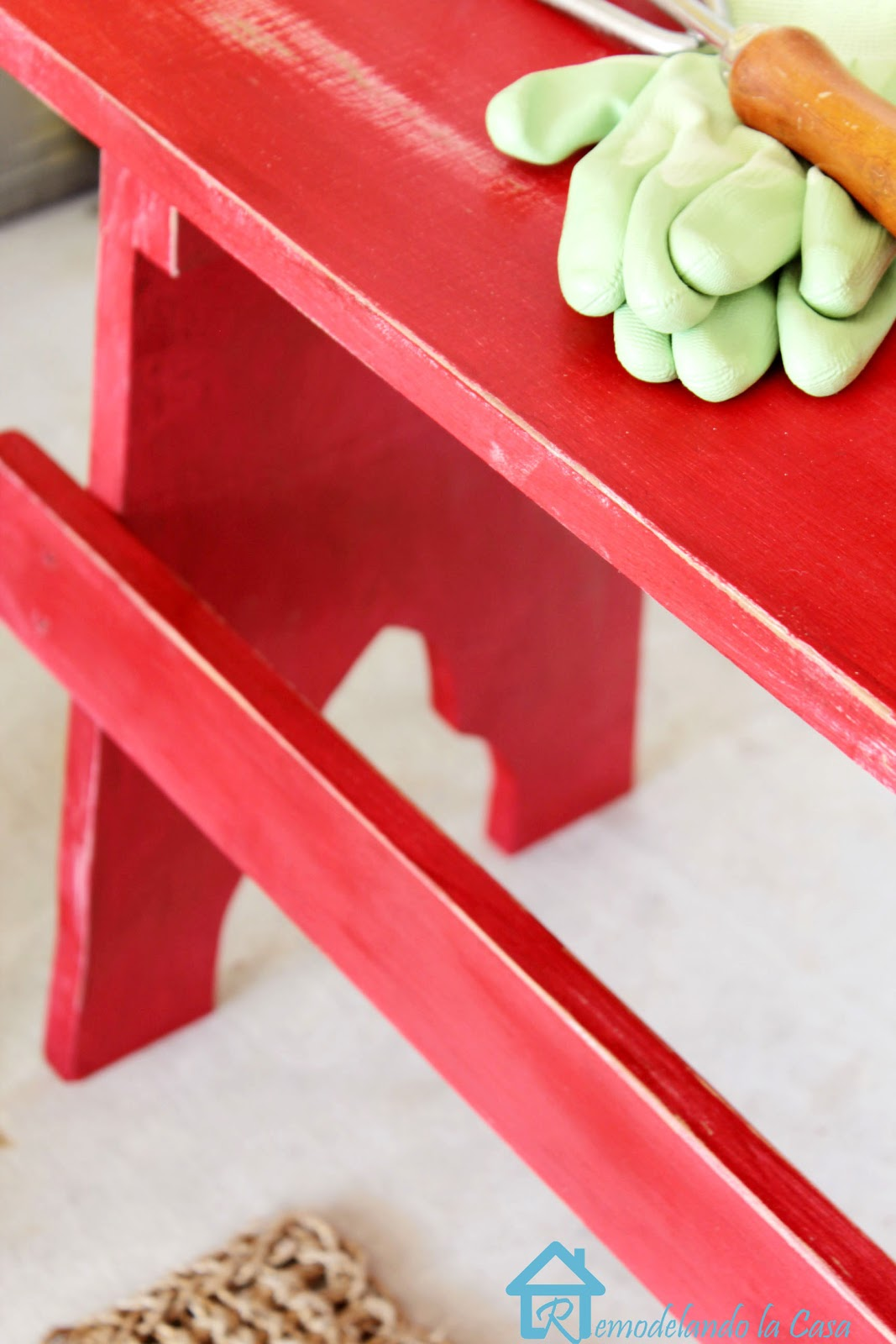 rutic bench painted red