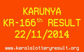 KARUNYA Lottery KR-166 Result 22-11-2014