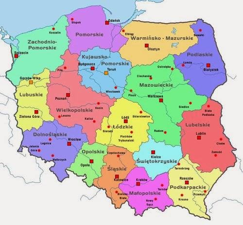 Mapa con województwa