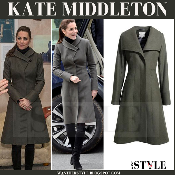 Kate Middleton in green wool Reiss angel coat and black Aquatalia boots what she wore
